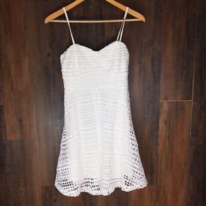 LuLu's White Spaghetti Strap Lace Dress #566